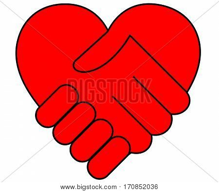 Heart and two hands stylized, isolated on white