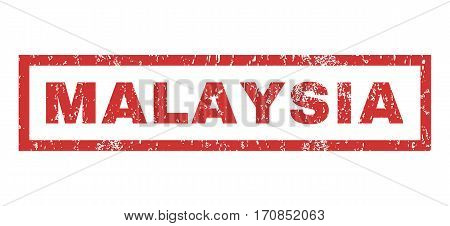 Malaysia text rubber seal stamp watermark. Tag inside rectangular shape with grunge design and unclean texture. Horizontal vector red ink sticker on a white background.