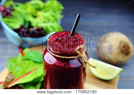 beet smoothie with fresh herbs ,lime and whole beets
