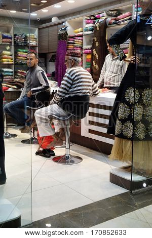 KOLKATA, INDIA - FEBRUARY 10: Traditional Indian garment shop in New Market area, Kolkata, India on February 10, 2016.