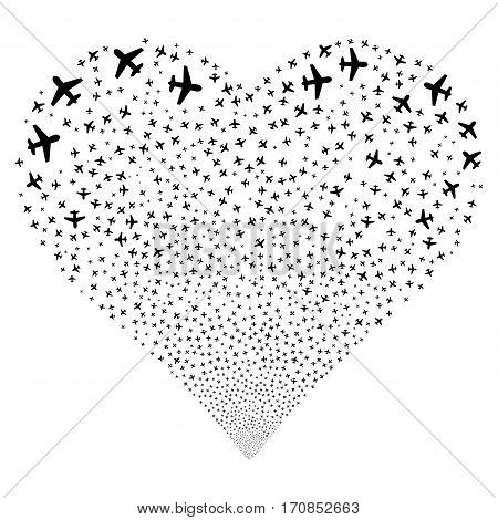Airplane fireworks with heart shape. Vector illustration style is flat black iconic symbols on a white background. Object love heart organized from scattered icons.