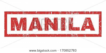 Manila text rubber seal stamp watermark. Tag inside rectangular banner with grunge design and scratched texture. Horizontal vector red ink emblem on a white background.