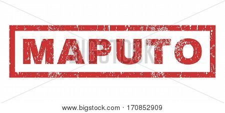 Maputo text rubber seal stamp watermark. Caption inside rectangular shape with grunge design and unclean texture. Horizontal vector red ink emblem on a white background.
