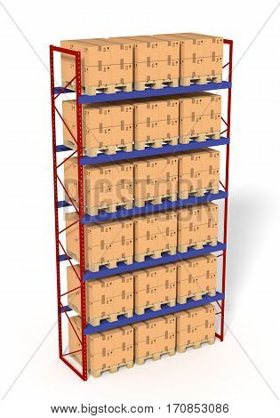 Warehouse shelves rack filled with brown boxes. Isolated on white background. Retail, logistics, delivery and storage concept. Generic containers rack shelves. Distribution facility. 3D illustration