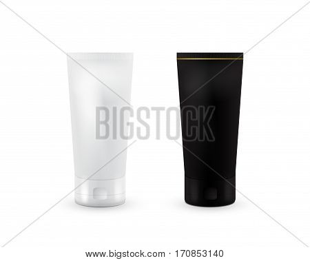 Cream Tube Mock Up Set with. Black and white color. Cosmetic container. Mock up