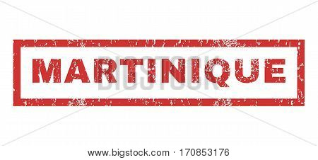 Martinique text rubber seal stamp watermark. Tag inside rectangular banner with grunge design and scratched texture. Horizontal vector red ink sticker on a white background.