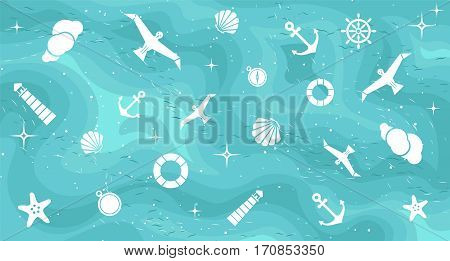 Vector flat sea design color background. Cute template with seashell seagull bird lighthouse lifebuoy starfish anchor and ocean waves.