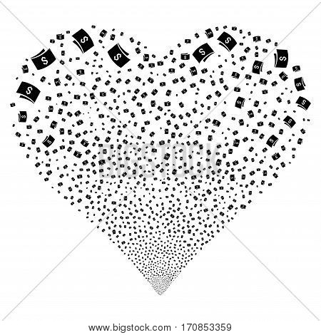 Banknotes fireworks with heart shape. Vector illustration style is flat black iconic symbols on a white background. Object valentine heart combined from scattered icons.