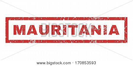 Mauritania text rubber seal stamp watermark. Caption inside rectangular shape with grunge design and scratched texture. Horizontal vector red ink sticker on a white background.