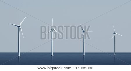 3d rendering of windturbines on the ocean