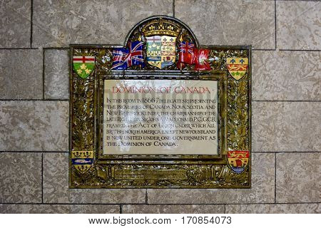 Ottawa, Canada - December 26, 2016: Dominion of Canada Plaque in the Parliament of Canada Ottawa.