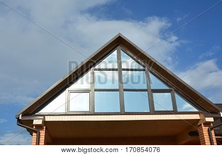 Attic Construction with beautiful skylights roof windows.