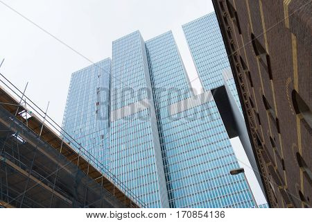 ROTTERDAM NETHERLANDS - MAY 14 2016: Low angle view of the famous skyscraper