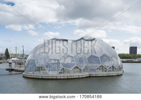 ROTTERDAM NETHERLANDS - MAY 14 2016: Modern sustainable and experimental floating houses in the rotterdam harbor