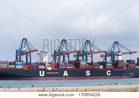 ROTTERDAM NETHERLANDS - MAY 14 2016: UASC Container ship being unloaded in the rotterdam port. United Arab Shipping Company owns and operates a fleet of 52 ships