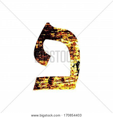 Hebrew letter Pei. Shabby gold font. The Hebrew alphabet.