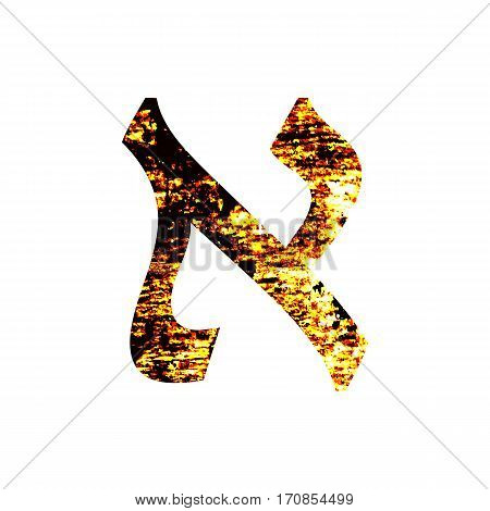 Hebrew letter Aleph. Shabby gold font. The Hebrew alphabet.