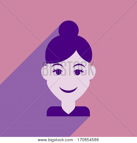 Flat web icon with long shadow women's haircut
