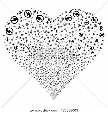 Electricity fireworks with heart shape. Vector illustration style is flat black iconic symbols on a white background. Object salute done from scattered pictographs.