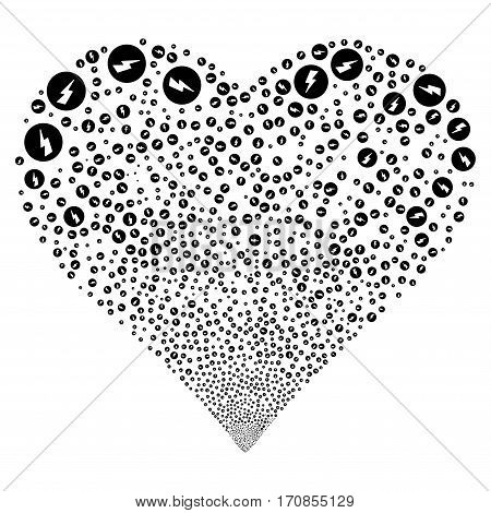 Electricity fireworks with heart shape. Vector illustration style is flat black iconic symbols on a white background. Object heart constructed from scattered pictographs.