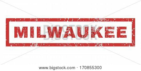 Milwaukee text rubber seal stamp watermark. Caption inside rectangular banner with grunge design and dust texture. Horizontal vector red ink sign on a white background.