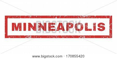 Minneapolis text rubber seal stamp watermark. Caption inside rectangular shape with grunge design and dirty texture. Horizontal vector red ink emblem on a white background.