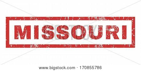 Missouri text rubber seal stamp watermark. Caption inside rectangular banner with grunge design and scratched texture. Horizontal vector red ink emblem on a white background.