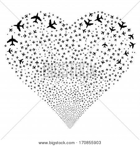 Jet Plane fireworks with heart shape. Vector illustration style is flat black iconic symbols on a white background. Object valentine heart organized from confetti design elements.