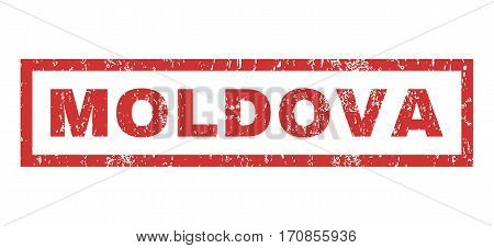 Moldova text rubber seal stamp watermark. Tag inside rectangular banner with grunge design and unclean texture. Horizontal vector red ink emblem on a white background.