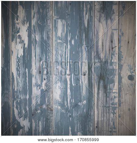 Old rustic weathered wooden plank wall painted blue, paint peel texture. Use for your design. presentations, etc. wooden texture, vector Eps10 illustration.