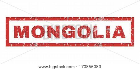 Mongolia text rubber seal stamp watermark. Tag inside rectangular shape with grunge design and unclean texture. Horizontal vector red ink sign on a white background.