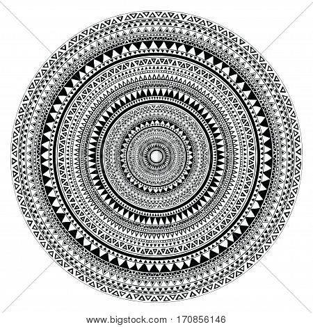 Tribal folk aztec geometric pattern in circle. Abstract vector illustration