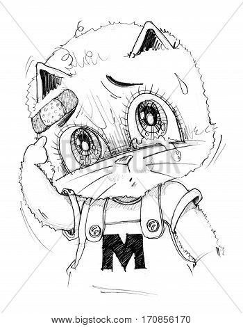 Cute cat crying has sight look very poor and sue His finger pointing to wound Cartoon cute character design pencil sketch black art line.
