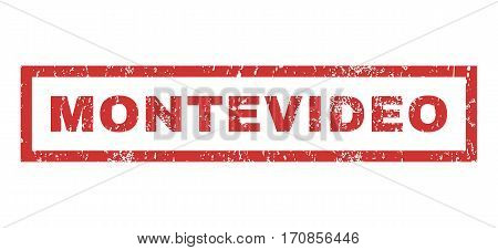 Montevideo text rubber seal stamp watermark. Caption inside rectangular shape with grunge design and scratched texture. Horizontal vector red ink sign on a white background.