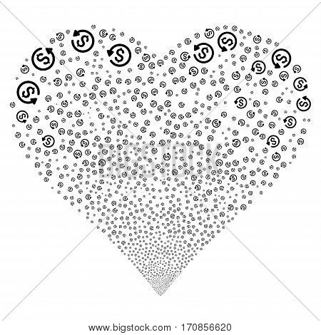 Refund fireworks with heart shape. Vector illustration style is flat black iconic symbols on a white background. Object valentine heart created from scattered symbols.