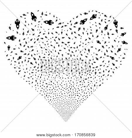 Space Rocket fireworks with heart shape. Vector illustration style is flat black iconic symbols on a white background. Object valentine heart created from scattered symbols.