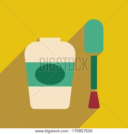 Flat icon with long shadow women nail polish