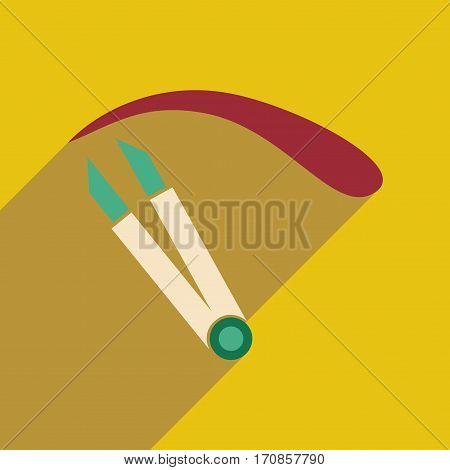 Flat icon with long shadow women eyebrow Tweezers