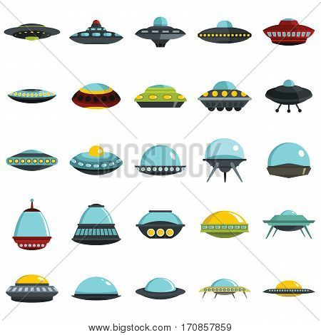Alien spaceship spacecrafts and ufo vector set in cartoon style. Cosmic ship in form saucer for transportation illustration for spase design