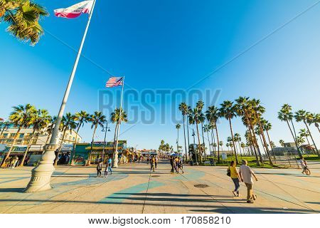 Venice California - November 03 2016: Promenade in Venice beach