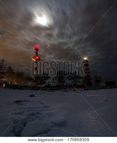 Shepelevsky lighthouse in a moonlit night, Leningrad region, Russia