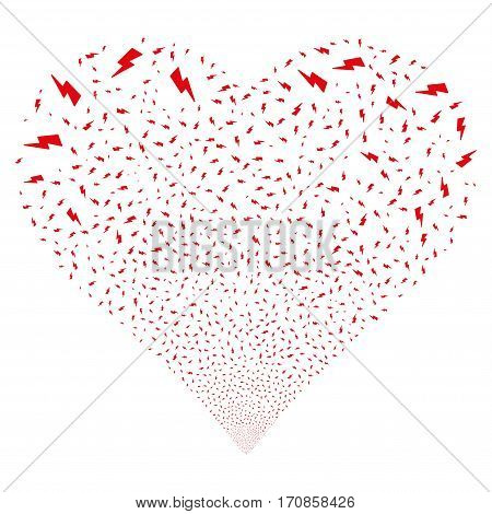 Electric Strike fireworks with heart shape. Vector illustration style is flat intensive red iconic symbols on a white background. Object salute combined from random design elements.
