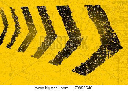 Grunge distressed black road direction marking paintbrush stroke stripes on yellow background element illustration