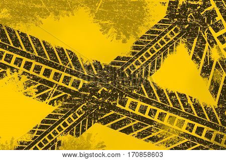 Grunge distressed black tire track road marking paintbrush stroke stripes on yellow background element illustration