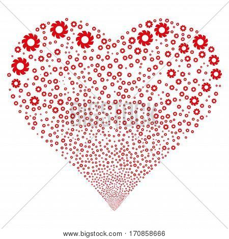 Turbine fireworks with heart shape. Vector illustration style is flat intensive red iconic symbols on a white background. Object stream organized from scattered design elements.