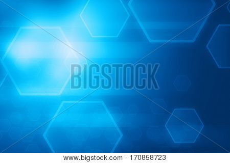 Abstract blue hexagon and lines glowing technology background illustration