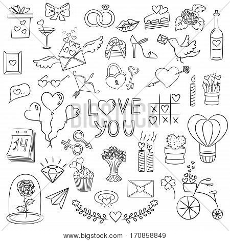 Set of Valentine day doodle elements on the white background. Vector illustration.