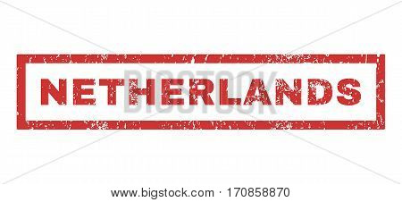 Netherlands text rubber seal stamp watermark. Tag inside rectangular shape with grunge design and scratched texture. Horizontal vector red ink emblem on a white background.