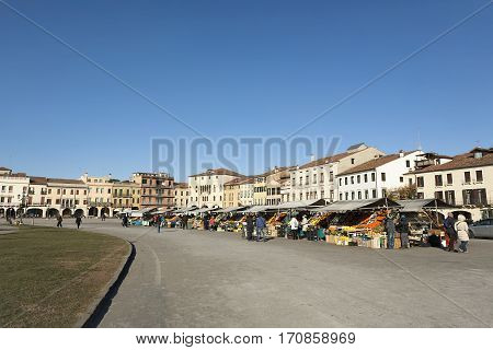 Italy, Padua - January. 2017 Fruit market in the center of the city, an island in the shape of an ellipse, big square