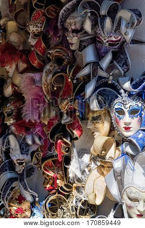 Beautiful carnival mask in Venice Italy in a day
